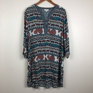 Umgee Paisley button front shirt dress